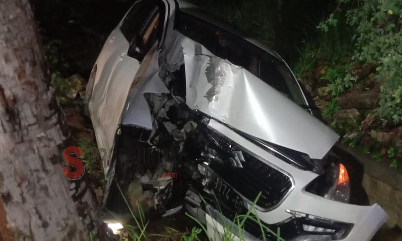 Mobil Suzuki Ertiga yang mengalami kecelakaan di Kecamatan Batuan